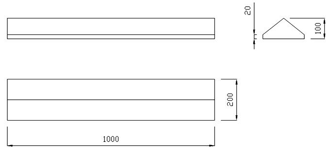 чертеж крышки на забор или парапет 1000х200х100