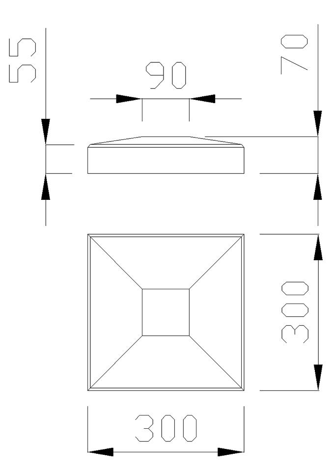 чертеж крышки на столб 300х300х70