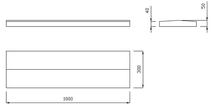 чертеж крышки на забор или парапет 1000х300х50