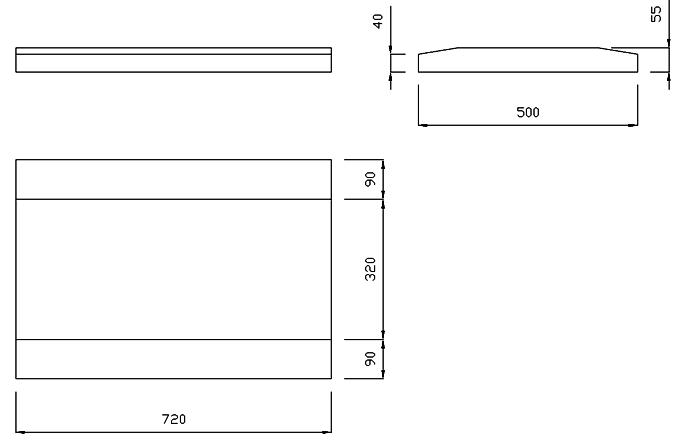 чертеж крышки на забор или парапет 720х500х55