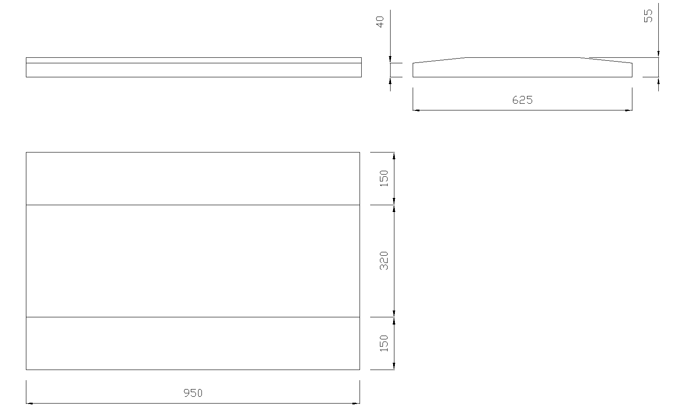 чертеж крышки на забор или парапет 950х625х55