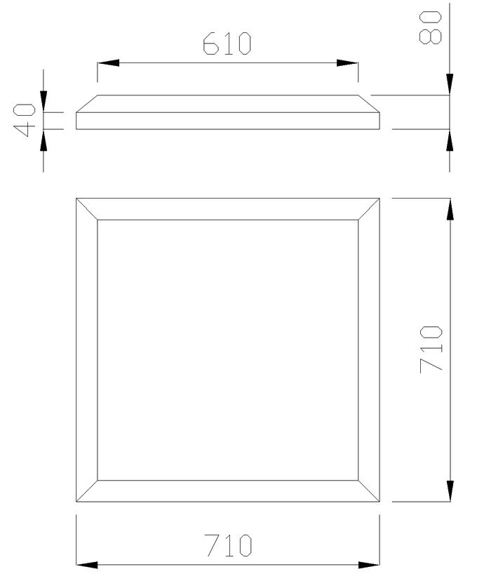 чертеж крышки на столб 710х710х80