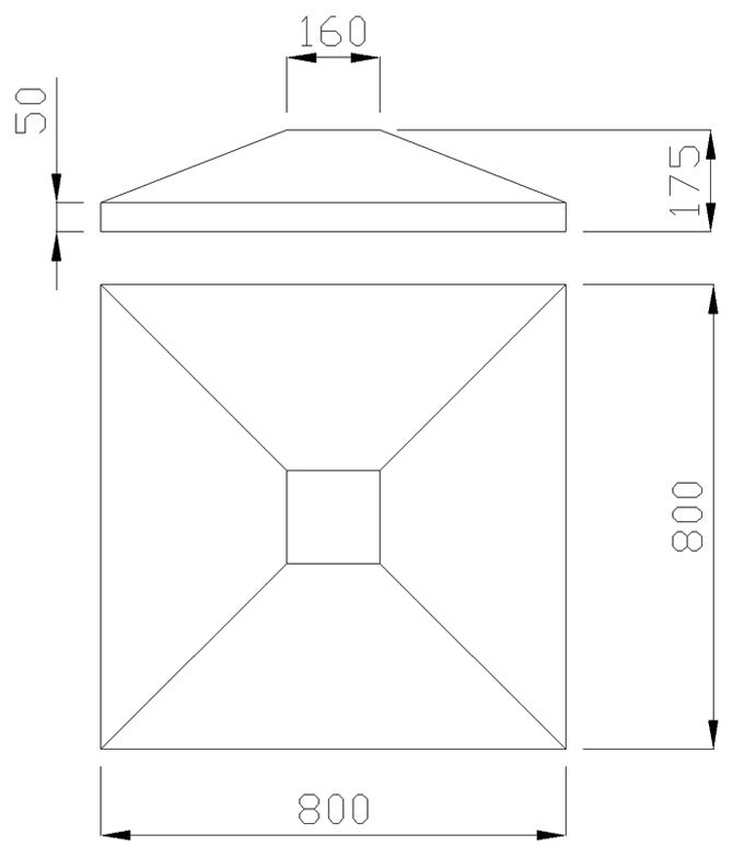 чертеж крышки на столб 800х800х175