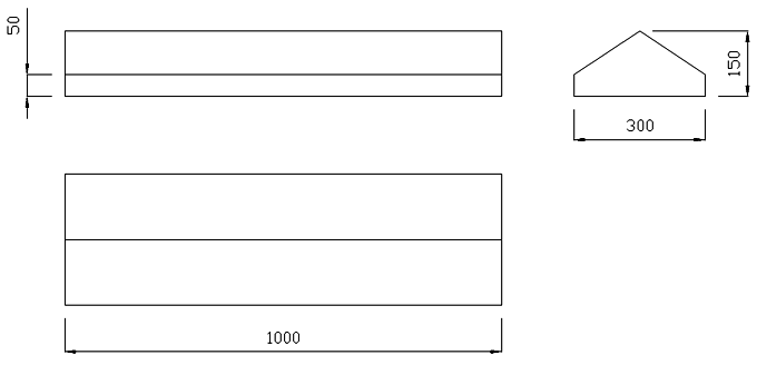 чертеж крышки на забор или парапет 1000х300х150