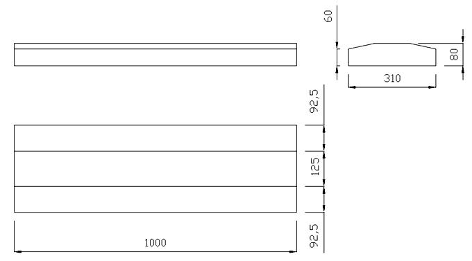 чертеж крышки на забор или парапет 1000х310х80