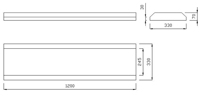 чертеж крышки на забор или парапет 1200х330х70