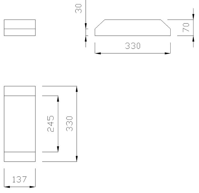 чертеж крышки на забор или парапет 137х330х70 добор