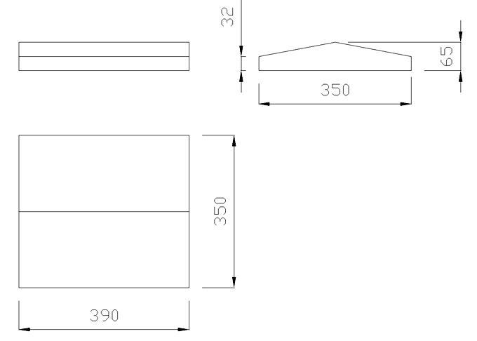 чертеж крышки на забор или парапет 390х350х65