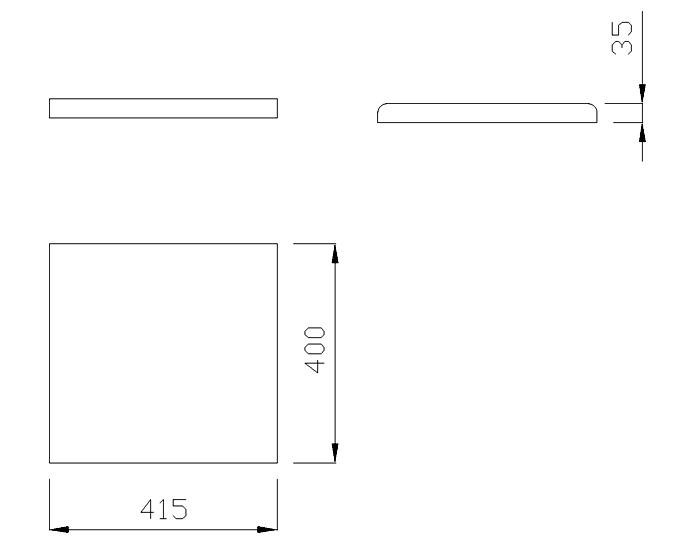 чертеж крышки на забор или парапет 415х400х35