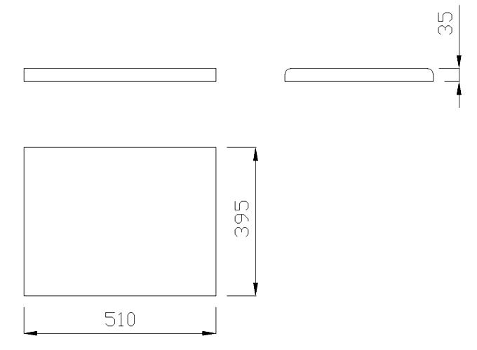чертеж крышки на забор или парапет 510х395х35