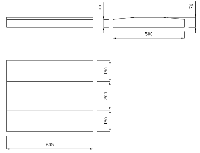 чертеж крышки на забор или парапет 605х500х70