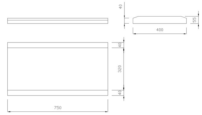 чертеж крышки на забор или парапет 750х400х55