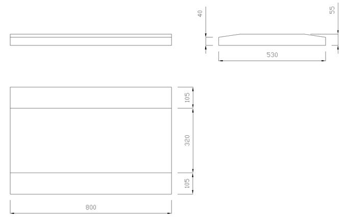 чертеж крышки на забор или парапет 800х530х55
