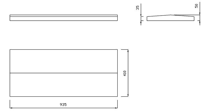 чертеж крышки на забор или парапет 935х410х50