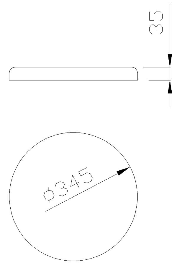 чертеж крышки на столб круглой диаметр 345 мм