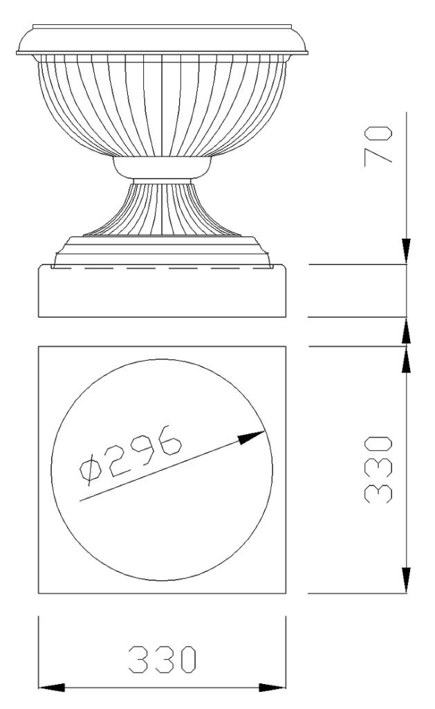 чертеж крышки на столб под вазон квадраная 330х330х70