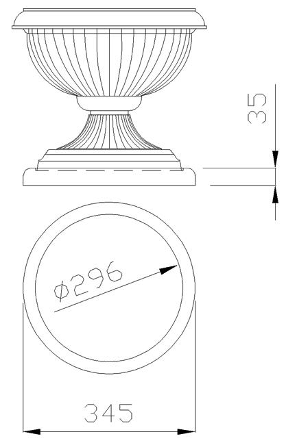 чертеж крышки на столб под вазон круглой диаметр 345 мм