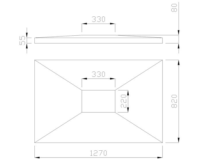 чертеж крышки на столб 1270х820х80