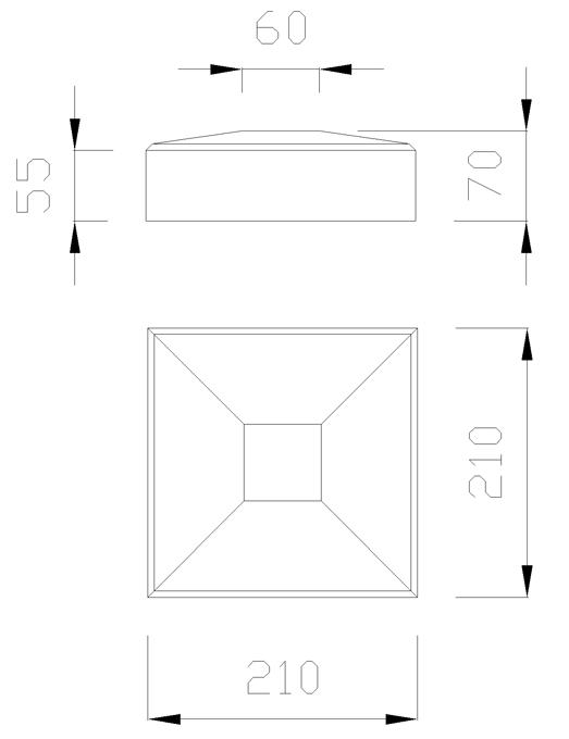 чертеж крышки на столб 210х210х70