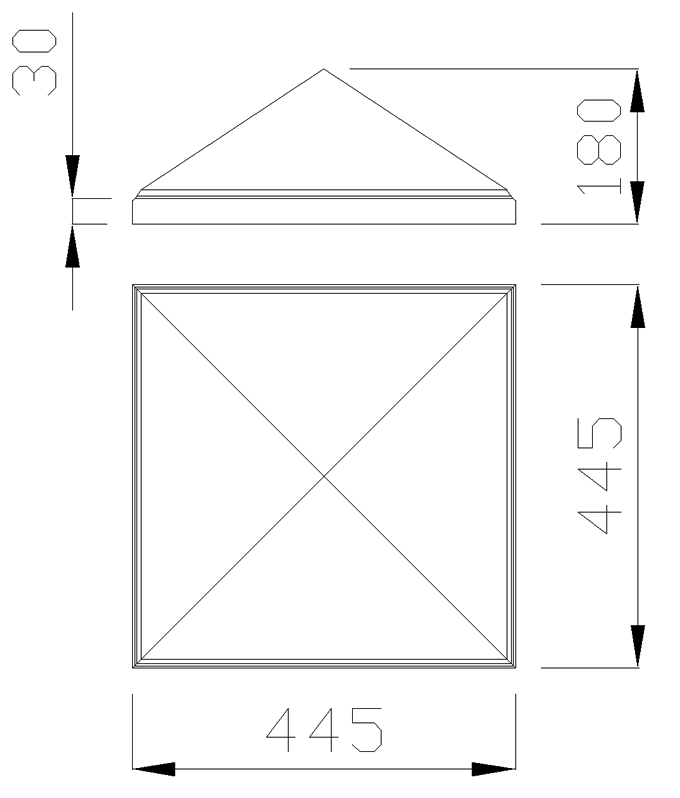 чертеж крышки на столб 445х445х180