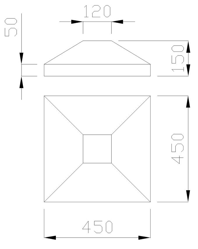 чертеж крышки на столб 450х450х150