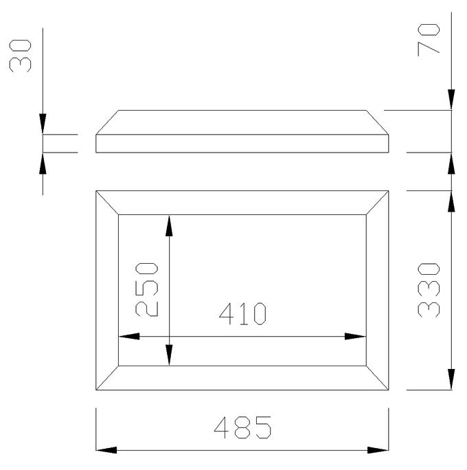 чертеж крышки на столб 485х330х70