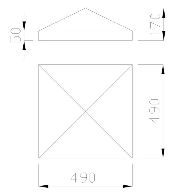 чертеж крышки на столб 490х490х170