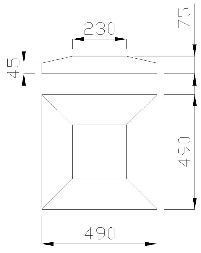 чертеж крышки на столб 490х490х75