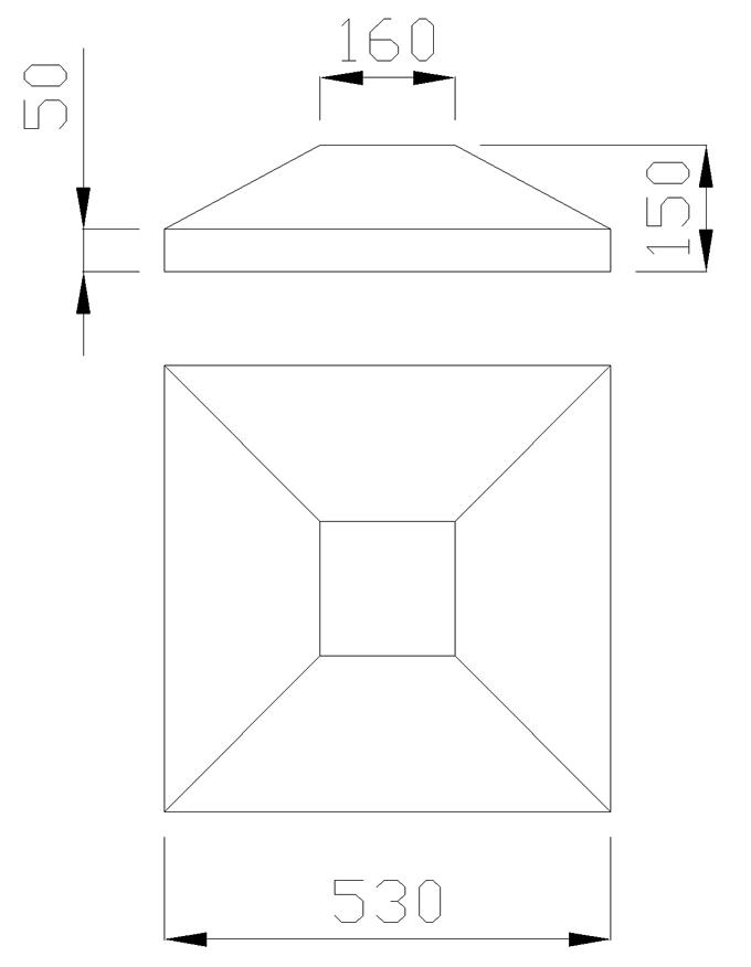 чертеж крышки на столб 530х530х150