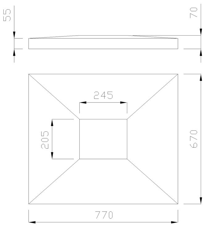 чертеж крышки на столб 770х670х70
