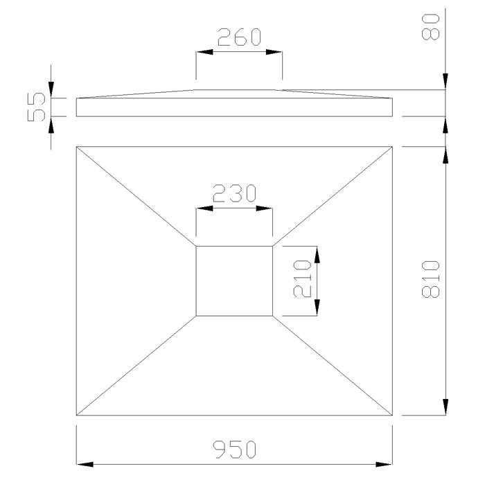 чертеж крышки на столб 950х810х80 мм
